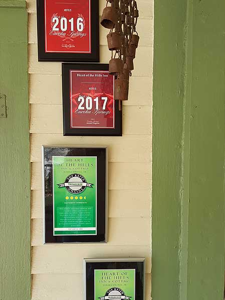 Award plaques won by Hear of the Hills Inn